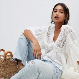 Free People Drive You Mad puff sleeve blouse